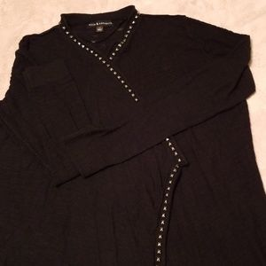 Rock and Republic M studded open black cardigan